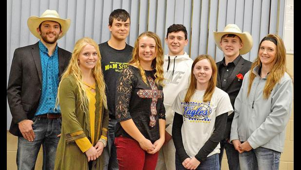 Photo by Tracie Crawford Back row from left: Tate Eisenbraun, Wynn Schacck, Cash Wilson, and Trey Elsere; front row from left: Emilee Pauley, Trista Reinert, Shelby Ruland and Jaicee Williams