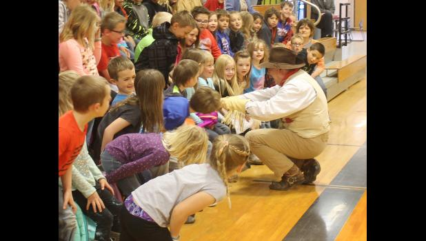 ​As a Dakota Assemblies representative for the education and entertainment of local elementary students, Arch Ellwein portrayed Teddy Roosevelt, Thursday, April 20, in the Philip gymnasium.