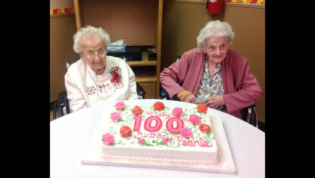 Pearle Jesfjeld, left, and Phyllis Brixey, right, are both 100 years old.