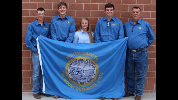Members of the 4-H 22 Rifle Team were among 27 South Dakota 4-H members who competed at the 2017 4-H Shooting Sports National Championships held in Grand Island, Nebraska June 25-30, 2017. Team members pictured include Cody Amidon, Tripp County; Tye Davis, Butte County; Darian Roghair, Jones County; Cole Thompson, Pennington County and coach, Tim Pravecek, Tripp County.