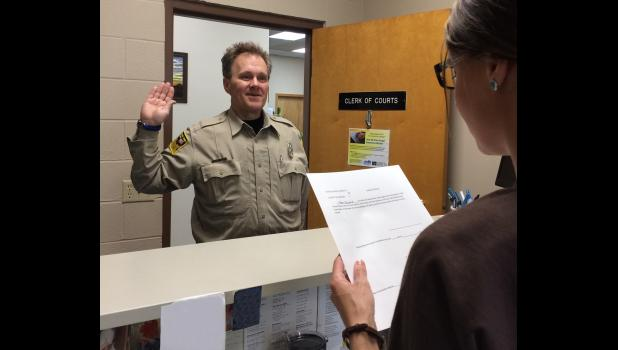 Matt Haugen took his oath of office as Jackson County Sheriff on Monday, April 17.