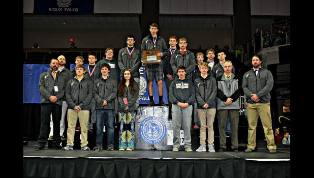 """Philip Area """"Badlands Brawlers"""" wrestling team at the 2017 state tournament"""
