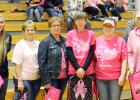The annual Dig Pink Week was highlighted by the special volleyball evening, Thursday, Oct. 6. There were many fundraising activities to help raise awareness and funds to find a cure for breast cancer. Special guests were honored between games. Those cancer survivors who were bold enough to come forward were honored, and given gifts. From left is FCCLA Dig Pink project head Mandy Burns, Kathy Gittings, Kara Parsons, Pam Clements, Val Schulz and Marcia West.