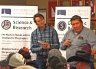 Jay Nopola, left, RESPEC research engineer, listens to concerns that Reno Red Cloud of the Oglala Sioux Tribe has concerning the deep borehole project and the possiblity of nuclear waste then coming to South Dakota.